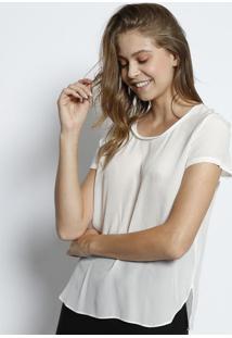 Camiseta Em Seda Com Fenda - Off Whitecanal