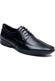 Sapato Social Com Cadarço Couro Ranster - Masculino-Preto