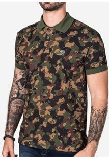 Camisa Polo Hermoso Compadre Militar Masculina - Masculino-Verde