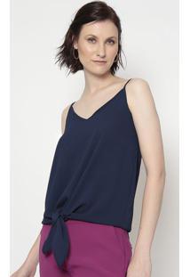 Blusa Lisa Com Amarração- Azul Marinho- Linho Finolinho Fino