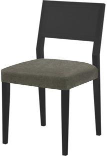 Cadeira Caiscais Assento Cor Cinza Com Base Laca Preto Fosco - 46497 - Sun House