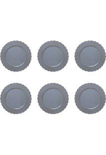 Conjunto De Sousplat Com 6 Peças Daisy Azul E Marrom 33 Cm