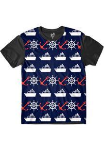 Camiseta Long Beach Náutica Embarcação E Âncora Sublimada Masculina - Masculino