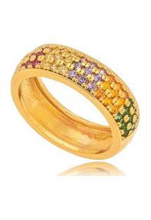 Anel Falange Cravejado Color Gazin Banhado A Ouro 18K - Ouro - 11 Dourado