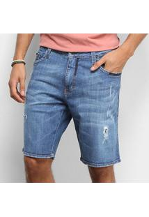 Bermuda Jeans Colcci Slim Estonada Puídos Masculina - Masculino-Azul