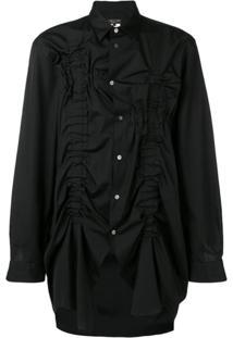 Comme Des Garçons Homme Plus Camisa Oversized Com Franzido - Preto