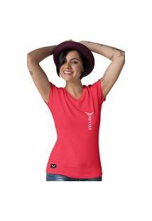 Camiseta Feminina Gola V Cellos Vertical Premium W Vermelho