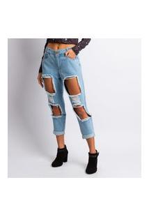 Calça Jeans Destroyer Feminina Mom Lavagem Clara Jeans