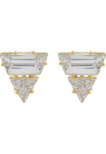 Brinco Narcizza Semijoias Triangulo Cristal Ouro
