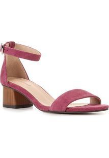 Sandália Couro Shoestock Básica Salto Baixo Feminina - Feminino-Rosa