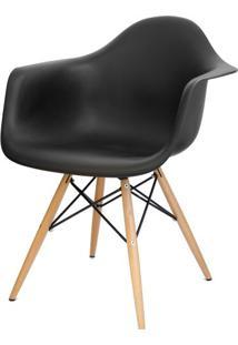 Cadeira Eames Com Braco Base Madeira Preto Fosco - 10426 Sun House