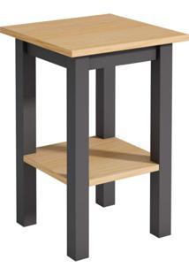 Mesa Lateral Quadrada Wood Garapa E Cinza