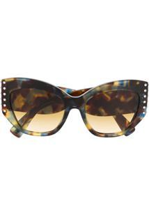 Valentino Eyewear Óculos De Sol Borboleta Com Aplicação De Cristal - Marrom