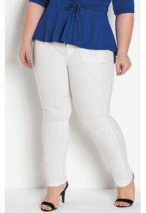 Calça Sarja Branca Com Elastano Plus Size