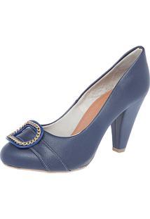 Scarpin Fiveblu Enfeite Azul-Marinho