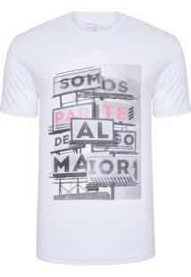 Camiseta Masculina Estampada Faz Parte - Branco