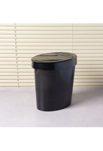 Lixeira Oval 5L Polietileno Preto Brinox