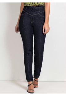 Calça Cigarrete Jeans Escuro Com Cinto Sawary