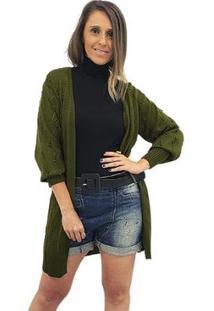 Cardigan Alongado Tricot Mania De Sophia Pelotinhas - Feminino-Verde+Laranja