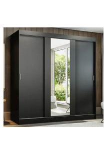 Guarda-Roupa Casal Madesa Reno 3 Portas De Correr Com Espelho Cor:Preto