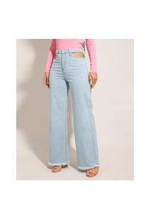 Calça Jeans Feminina Wide Pantalona Cintura Super Alta Com Vazado Azul Claro