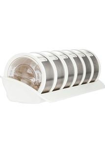 Porta Temperos Aço Inox Cylindra Branco 1 Rack E 6 Discos