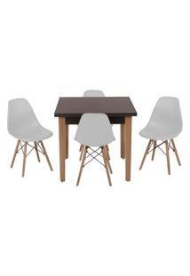 Conjunto Mesa De Jantar Luiza 80Cm Preta Com 4 Cadeiras Eames Eiffel - Cinza