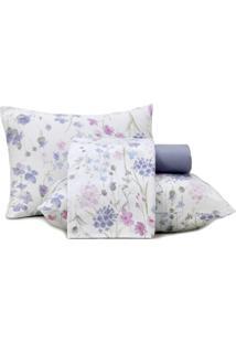 Jogo De Cama Solteiro Altenburg Malha In Cotton 100% Algodáo Soft Flower - Branco Roxo - Tricae