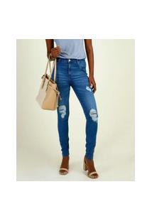 Calça Jeans Destroyed Skinny Feminina Cintura Alta