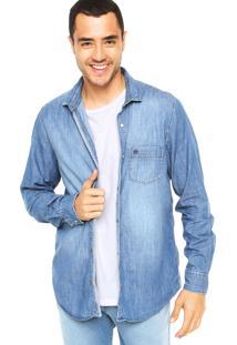 Camisa Vila Romana Jeans Estonada Azul
