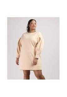 Vestido De Moletom Feminino Plus Size Mindset Curto Manga Bufante Amarelo