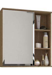 Espelho Para Banheiro C/ 1 Porta E 1 Prateleira Treviso - Mgm - Carvalho