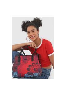 Bolsa Sacola Desigual Floral Vermelha