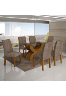 Conjunto De Mesa Com 6 Cadeiras Olímpia Ii Suede Amassado Imbuia Mel E Capuccino