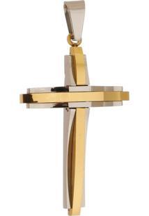 Pingente Cruz Ondulada De Aço Inox Dourada