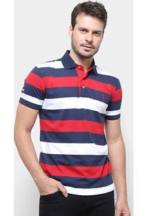 Camisa Polo Aleatory Listrada Fio Tinto Masculina - Masculino-Vermelho+Marinho