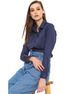 bb2cee475 ... Camisa Dudalina Estampada Azul-Marinho