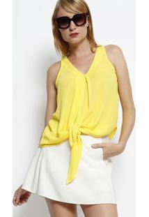 Blusa Com Nó Decorativo - Amarela- Linho Finolinho Fino