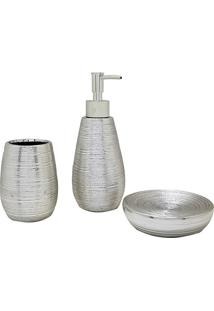 Kit Banheiro Porta Sabonete Escova Dente Sab Liquido 157534