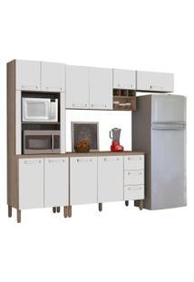 Cozinha Compacta Ametista Com Balcáo 10 Portas Composiçáo 7 Nogal/Branco - Kit'S Paraná