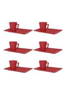 Conjunto De 6 Xicaras Pequenas 65 Ml Com Pires Retang Red