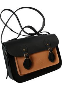 Bolsa Line Store Leather Satchel Pequena Couro Bicolor Preto X Savannah Premium - Kanui