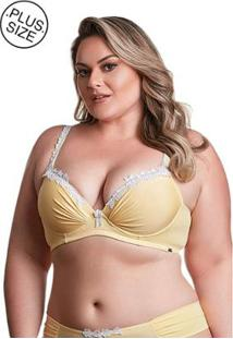 Sutiã Plus Size Dukley Lingerie Detalhe Em Guipir Feminina - Feminino-Amarelo