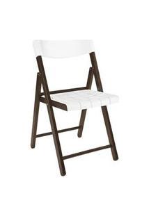 Cadeira Tramontina Potenza Madeira Jatoba Tabaco Com Branco Branco