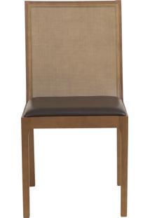 Cadeira Bete - Couro Marrom