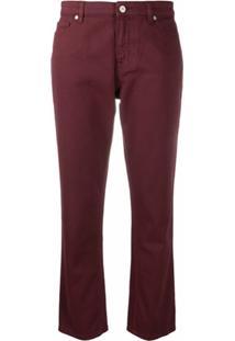 Ps Paul Smith Calça Jeans Reta Cropped - Vermelho