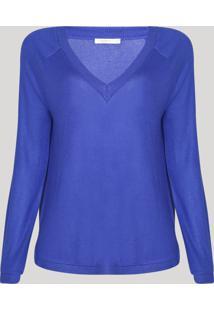Suéter De Tricô Feminino Raglan Decote V Azul