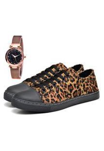 Tênis Sapatênis Casual Elegant Estampado Com Relógio Gold Feminino Dubuy 248La Preto