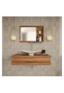 Conjunto Para Banheiro Bancada Com Cuba F44 Folha E Espelheira City 801 Nogal