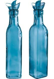 Conjunto Galheteiro Em Vidro Azul 2 Peças Euro Home